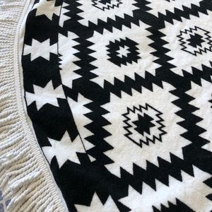 """Other - 60"""" Aztec thick terry circular fringed beach towel"""